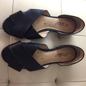 Black 🍀 Lucky Brand Slide Dress Sandals sz 9